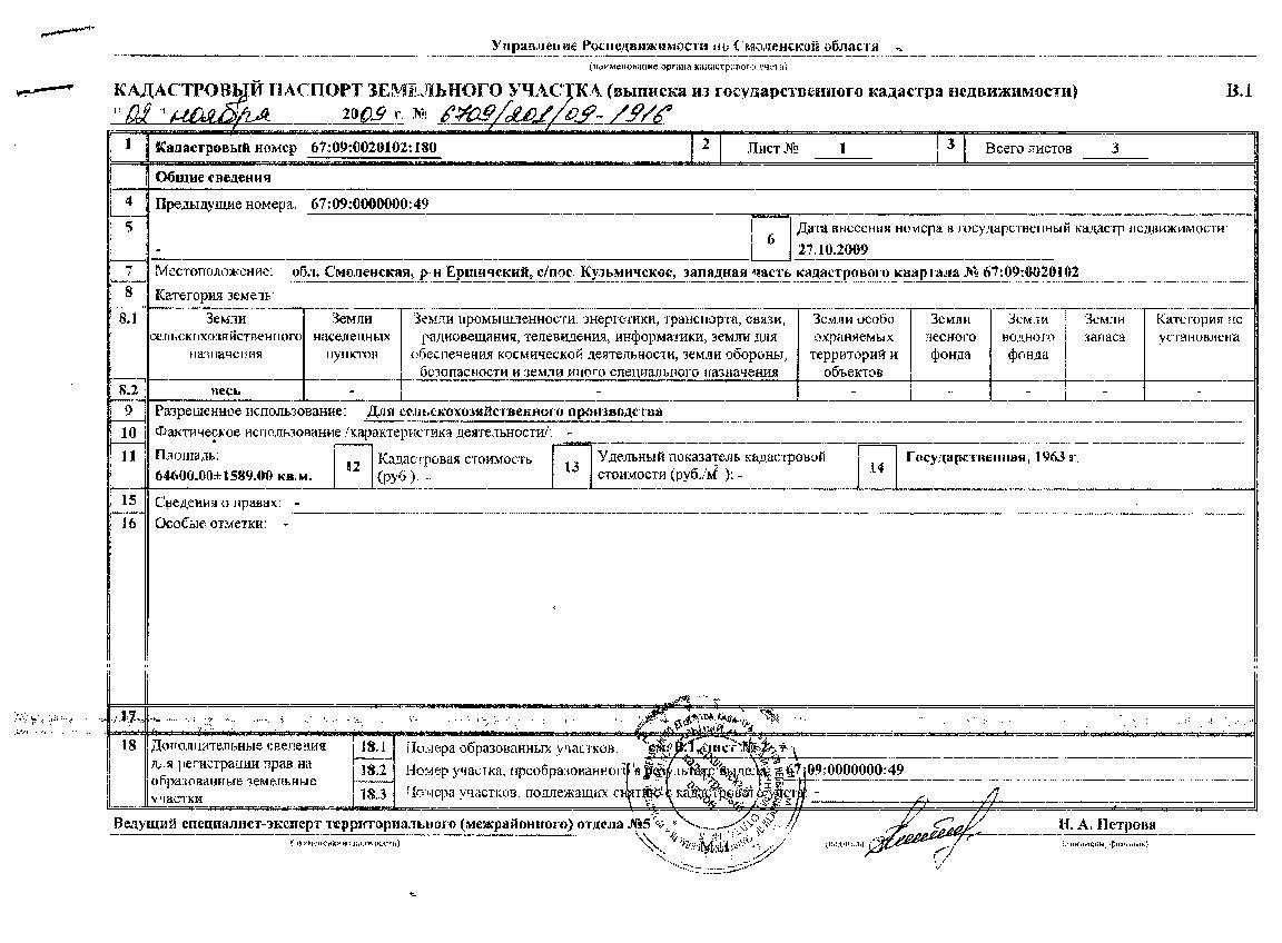 ушла кадастровый паспорт на земельный участок для договора купли-продажи любом случае